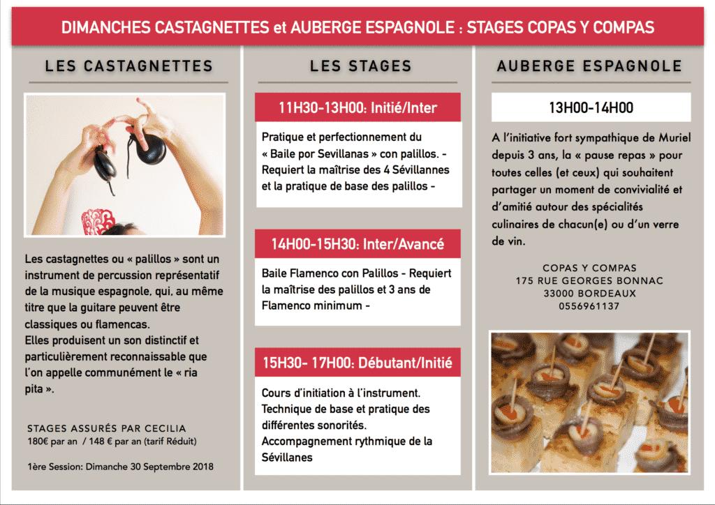cours stage castagnettes flamenco bordeaux - copas y compas