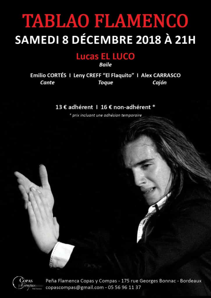 Affiche spectacle flamenco bordeaux: Lucas El Luco