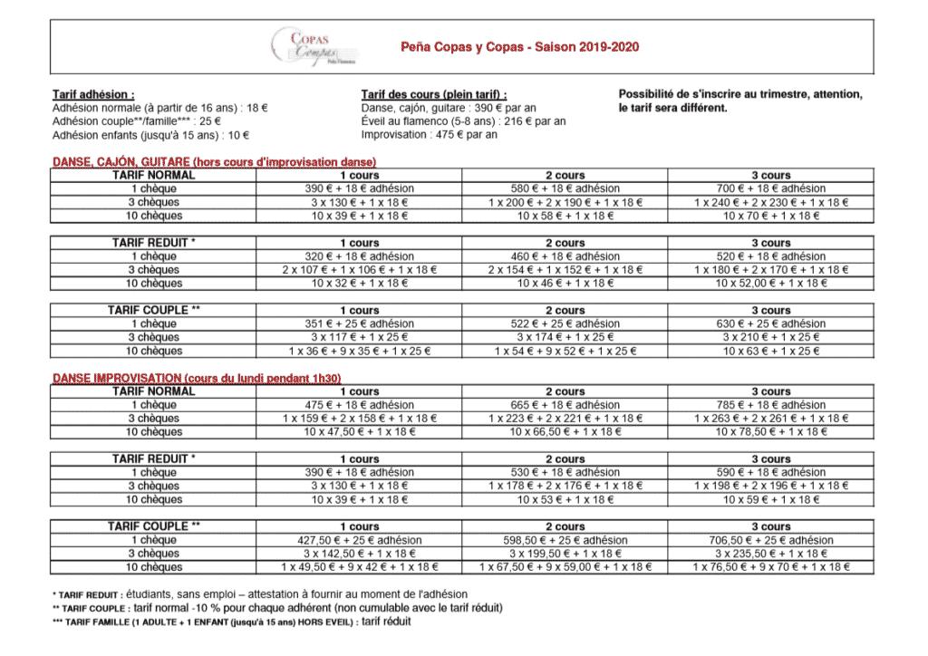 tarifs copas y compas 2019