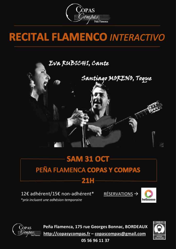 affiche récital interactif flamenco à la Peña de Bordeaux