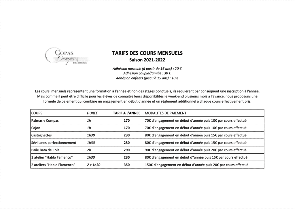 tarifs cours mensuels saison 2021-2022